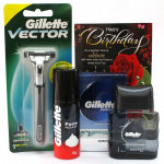 Gillete Combo - Gillette Razor, Gillette Foam, Gillette Aftershave and Card