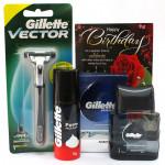 Gillete Combo - Gillette Razor, Gillette Foam, Gillette Aftershave and Card