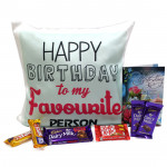 Choco Cushiony - Happy Birthday Cushion, Dairy Milk Fruit n Nut, 2 Dairy Milk, 2 Five Star, 2 Kitkat and Card
