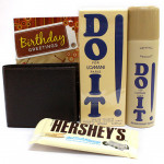 Close Friend - Hershey's Cookies n Crème, Leather Brown Wallet, Lomani DO It Perfume, Lomani Do It Deo and Card