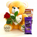 Rose for Real - Teddy 8 inches, Cadbury Dairy Milk Silk, Artificial Red Roses and Card