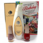 Get Ready - 2 Lakme Nail Paint, Lakme Fruit Moisture Peach Milk Moisturizer and Card