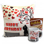 Birthday Gift - Happy Birthday Mug, Happy Birthday Cushion and Card