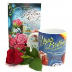 Rose N Mug - Happy Birthday Mug, Artificial Rose and Card