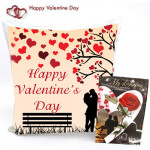 Cushion For Love - Happy Valentines Day Cushion and Card