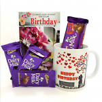 Nutty Muggy - Happy Birthday Mug, Dairy Milk Fruit n Nut, 3 Dairy Milk and Card