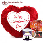 Mug N Heart - Heart Shape Happy Valentines Day Pillow, Happy Valentines Day Mug and Card