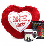 Mug N Heart - Heart Shape Pillow, Happy Birthday Mug and Card