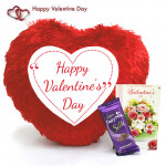 Silky Heart - Heart Shape Happy Valentines Day Pillow, Dairy Milk Silk and Card