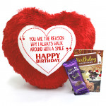 Silky Heart - Heart Shape Pillow, Dairy Milk Silk and Card