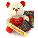 Soft Choco Treat - Teddy 12 inches, 2 Bournville, Toblerone and Card