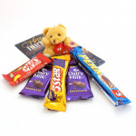 Teddy Chocolaty - Small Teddy, 2 Dairy Milk, Five Star, Kitkat, Perk and Card