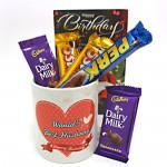 Love N More - Happy Birthday Mug, 5 Assorted Chocolate Bars and Card