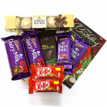 Nutty Crunch - Ferrero Rocher 5 pcs, Bournville, 2 Dairy Milk Fruit n Nut, 2 Dairy Milk, 2 Kitkat and Card
