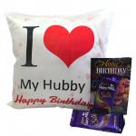 Cushion N Silk - Happy Birthday Cushion, 2 Dairy Milk Silk and Card
