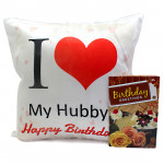 Husband's Cushion - Happy Birthday Cushion and Card