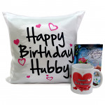My Hubby - Happy Birthday Cushion, Happy Birthday Mug and Card