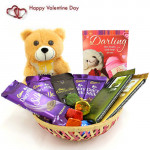 Symbol of Joy - Teddy 6 inches, 2 Dairy Milk Silk, Bournville, 2 Temptations, 2 Dairy Milk, Handmade Chocolates in Basket and Card