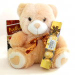 Golden Softy - Teddy 6 inches, Ferrero Rocher 4 Pcs and Card