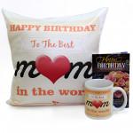 Best Mom - Happy Birthday Cushion, Happy Birthday Mug and Card