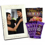Silver Milky - Silver Photo Frame, 5 Dairy Milk and Card