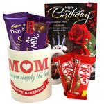Mug For Mom - Happy Birthday Mug, Dairy Milk Silk, Dairy Milk Fruit n Nut, 2 Kitkat and Card