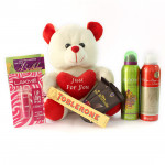 Soft Love - Teddy 8 inches, Toblerone, 2 Bournville, 2 Rasasi Deo, Lakme Lip Love Balm and Card