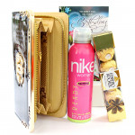 Chocolate N Accessories - Ferrero Rocher 4 Pcs, Blue Clutches, Nike Deo and Card