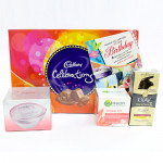 Complete Celebration - Cadbury Celebrations, Complete Protection (Garnier Anti Wrinkle Cream, Olay Total Effects, Ponds White Beauty Anti-Spot SPF 15 PA++ Fairness Cream) and Card