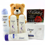 Soft Dove - Dove Shampoo, Dove Conditioner, Dove Face Wash, Dove Soap, Dove Deo, Teddy 6 inches and Card