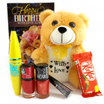 Love For Sis - Teddy 6 inches, Maybelline Mascara, Maybelline Liquid Liner, 2 Maybelline Nail Polishes, Kitkat and Card