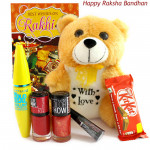 Rakhi Gift - Teddy 6 inches, Maybelline Mascara, Maybelline Liquid Liner, 2 Maybelline Nail Polishes, Kitkat and Card
