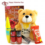 Love For Love - Teddy 6 inches, Maybelline Mascara, Maybelline Liquid Liner, 2 Maybelline Nail Polishes, Kitkat and Card