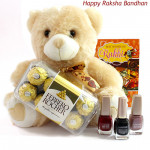 Crunch N Care - Teddy 6 inches, 2 Lakme Nail Polishes, Lakme Liner, Ferrero Rochers 16 Pcs
