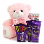 Cute Bubbly - Teddy 6 inches, 2 Dairy Milk Silk, Dairy Milk Fruit and Nut, Dairy Milk Crackle and Card