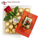 Speciality - Ferrero Rocher 24 Pcs, Artificial Rose and Card