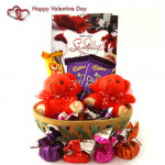 Lovely Bears - 2 Teddy Bears, 2 Dairy Milk, Five Star, Handmade Chocolates in Basket and Card