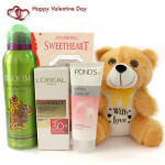 Soft Grooming - Teddy 6 inches, Rasasi Deo, L'Oreal Paris Perfect Skin 30+ Day Cream, Ponds White Beauty Daily Spot-less Lightening Face Wash and Card