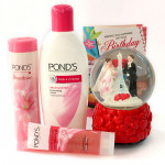 Rythem of Love - Ponds Triple Vitamin Moisturizing Lotion, Ponds White Beauty Pearl Cleansing Gel Face Wash, Ponds Dream Flower Fragrant Talc, Musical Globe with Heart and Card