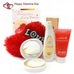 Love N Groom - Red Heart Pillow, Lakme Clean Up Fresh Fairness Face Wash, Lakme Peach Milk Moisturizer Body Lotion, Lakme Perfect Radiance Intense Whitening Compact and Card