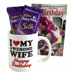 Silk N Mug - Happy Birthday Mug, 2 Dairy Milk Silk and Card