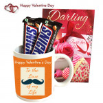 Muggy Crunch - Happy Valentine's Day Mug, 2 Snickers and Card