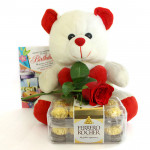 Rose N Love - Teddy 12 inches, Ferrero Rocher 16 Pcs, Artificial Rose and Card