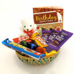 Amazing Choco Hamper - Small Teddy, 3 Dairy Milk, Five Star, Kitkat, Perk, Handmade Chocolate in Basket and Card