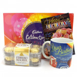 Mug Celebration - Cadbury Celebrations, Ferrero Rocher 16 Pcs, Happy Birthday Mug and Card