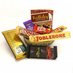 Choco Basket - Temptations, Bournville, Twix, Toblerone, Dairy Milk 14 gms, Five Star, Kitkat in Basket and Card