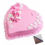 1.5 Kg Strawberry Heart Shaped Cake & Card