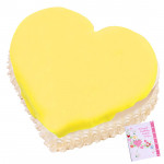 1.5 Kg Pineapple Heart Shaped Cake & Card