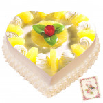 2 Kg Pineapple Heart Shaped Cake & Card