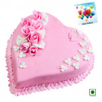 Strawberry Heart Shaped Cake 2 Kg (Eggless) & Card
